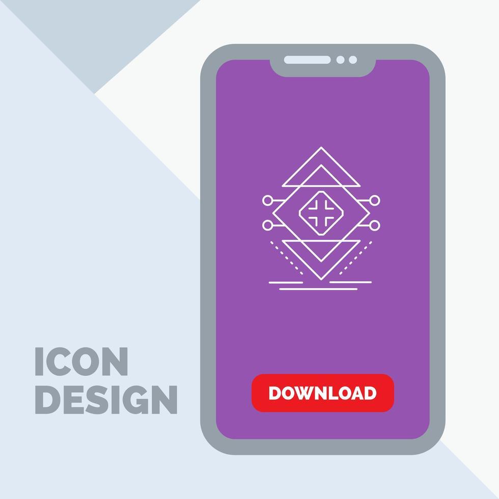 geometrische lijn pictogram op mobiel apparaat vector