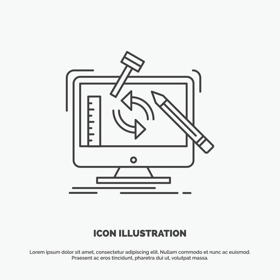 linea piatta ingegneria icona design vettore