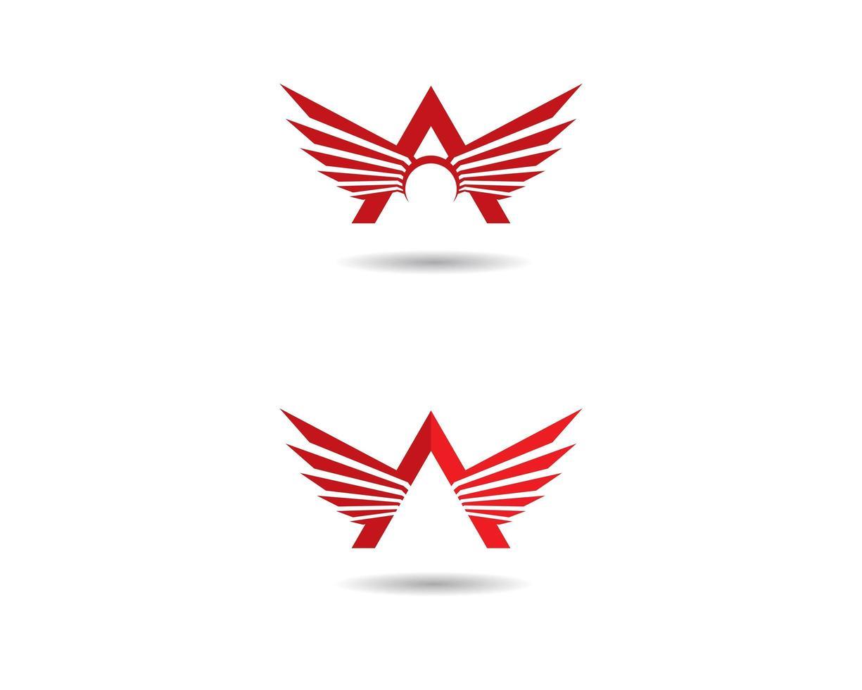 vermelho um conjunto de logotipo de asa vetor