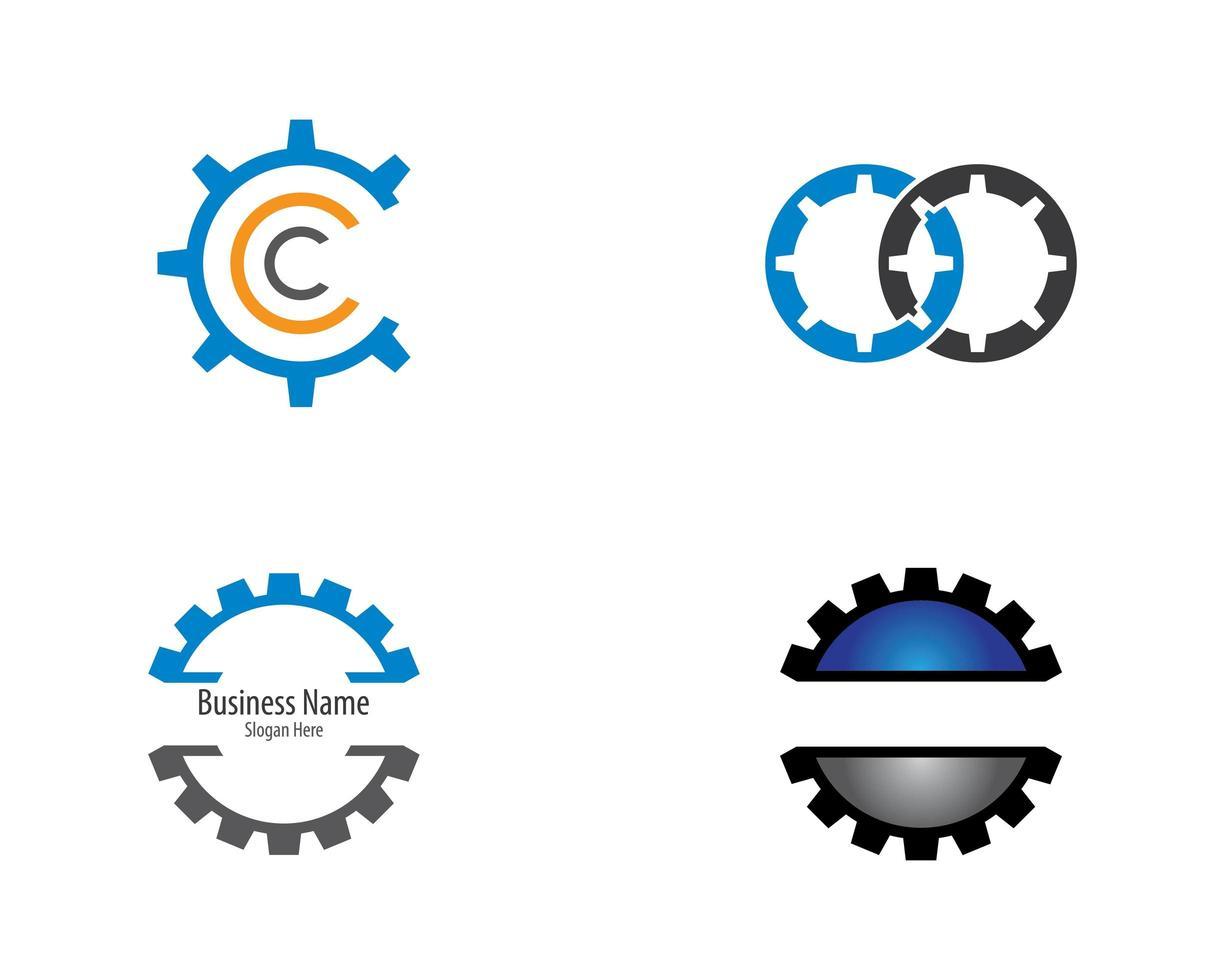 Gear part logo icon set vector
