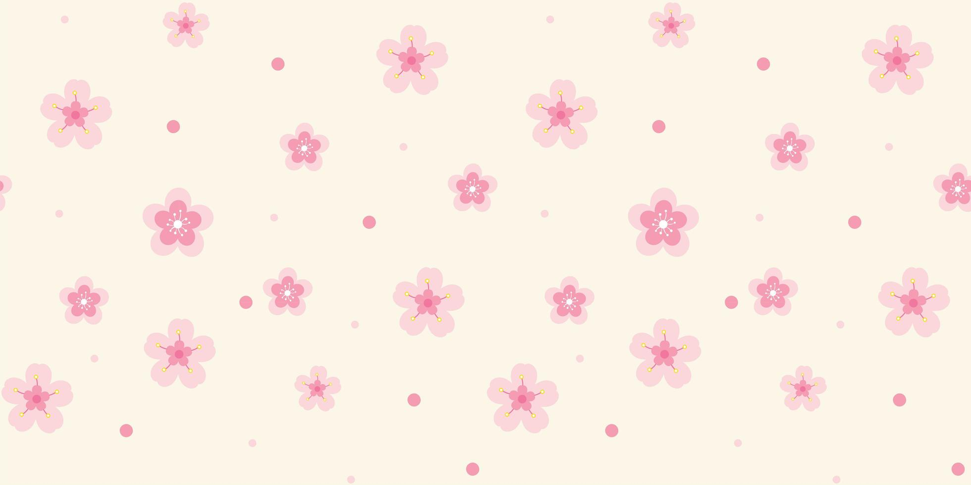 Pattern with Pink Flowers on Light Background vector