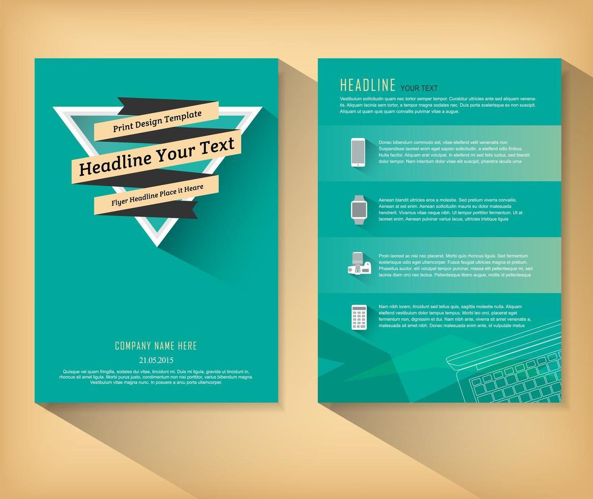brochure verde retrò con banner sul triangolo vettore