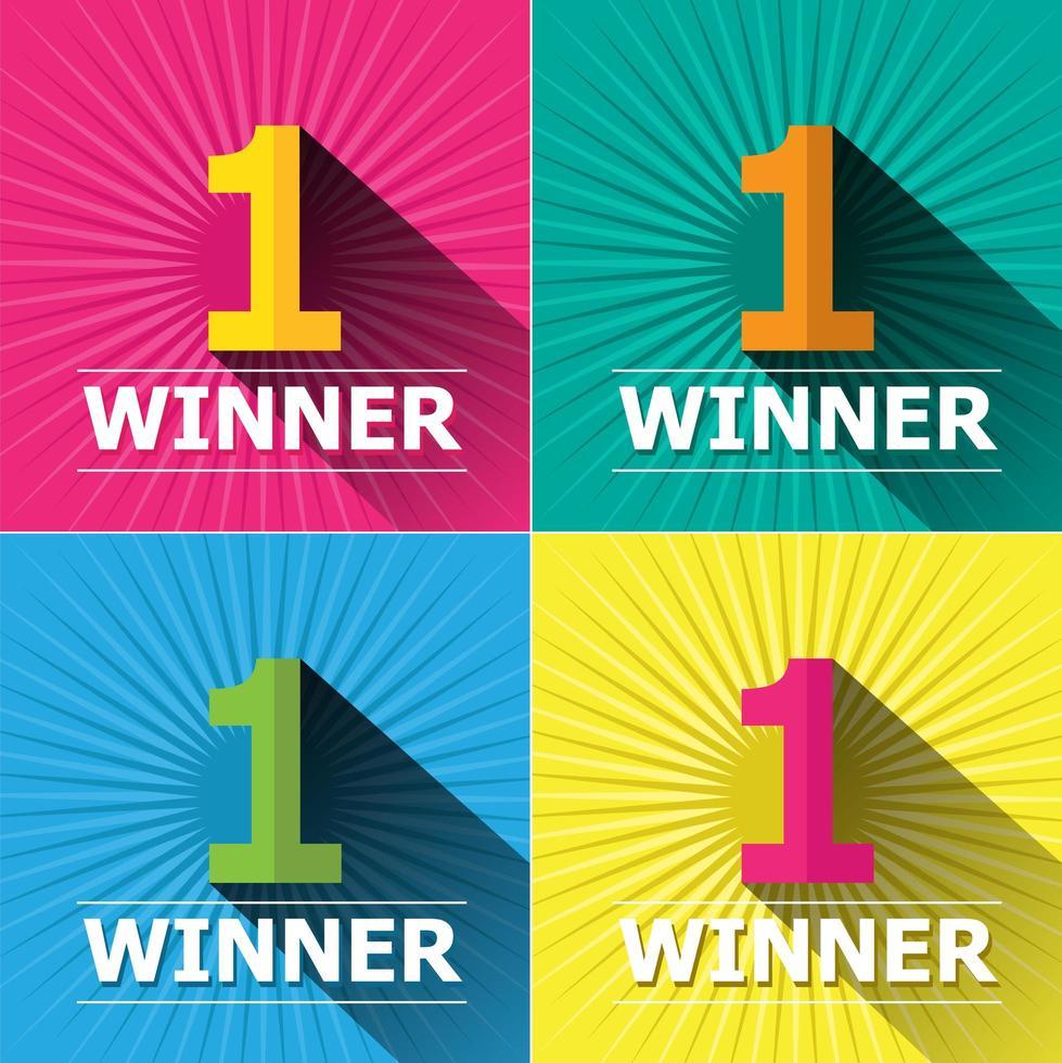 Number One Winner Card Set on Burst Background vector