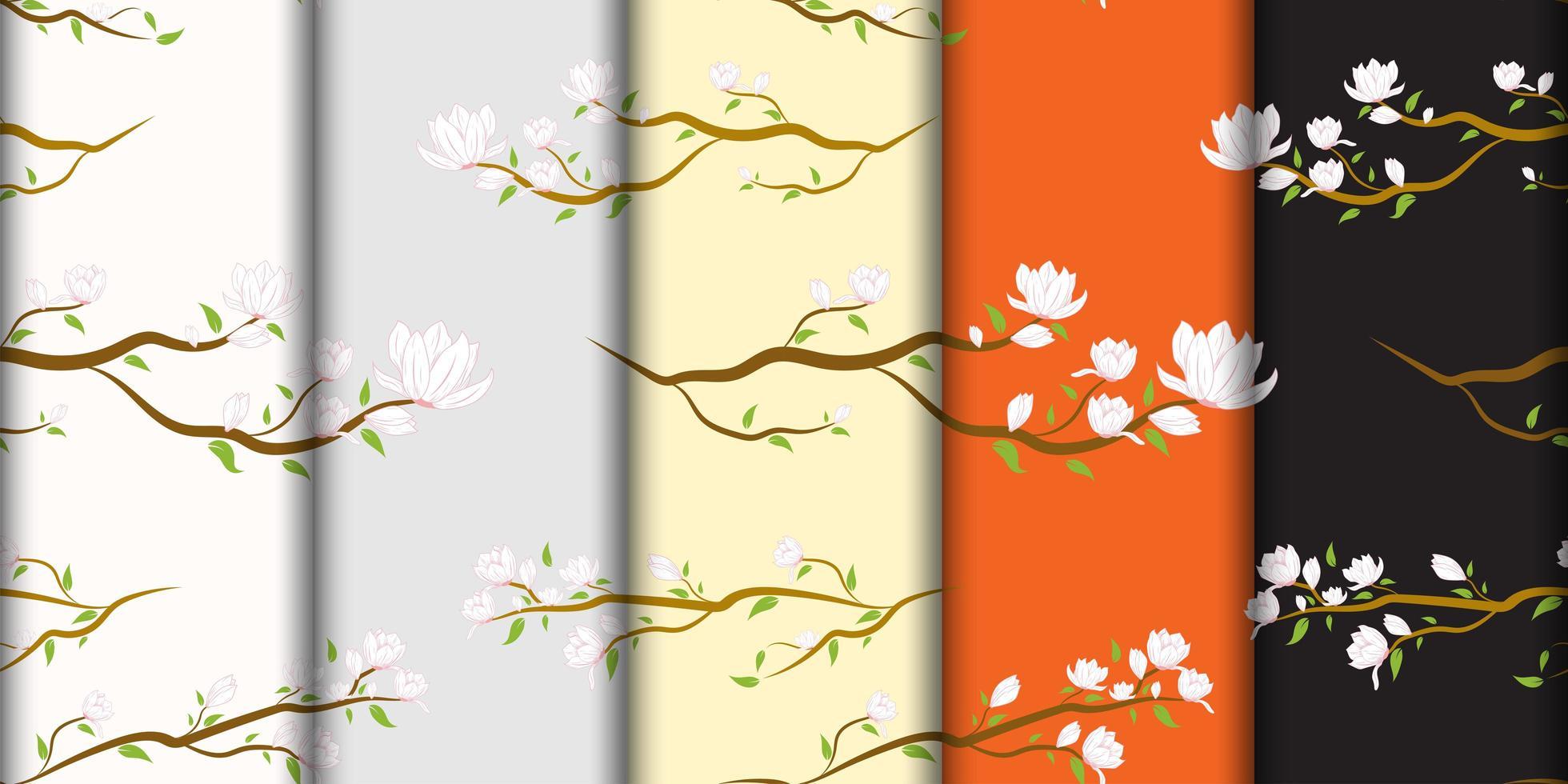 White Japanese Flowers on Branch Pattern Set vector