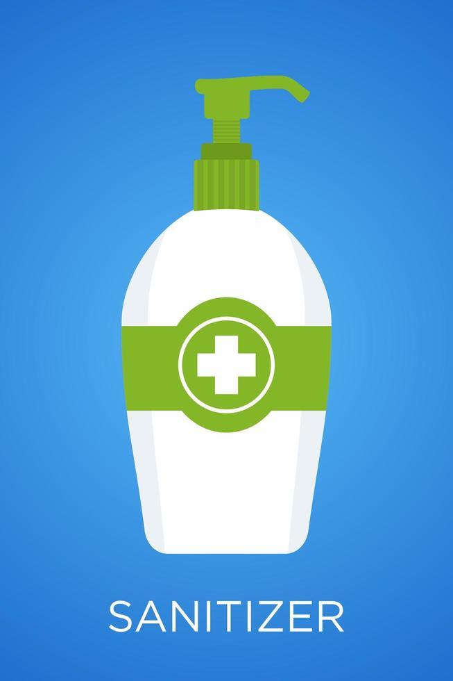 botella santizer de mano verde y blanca vector