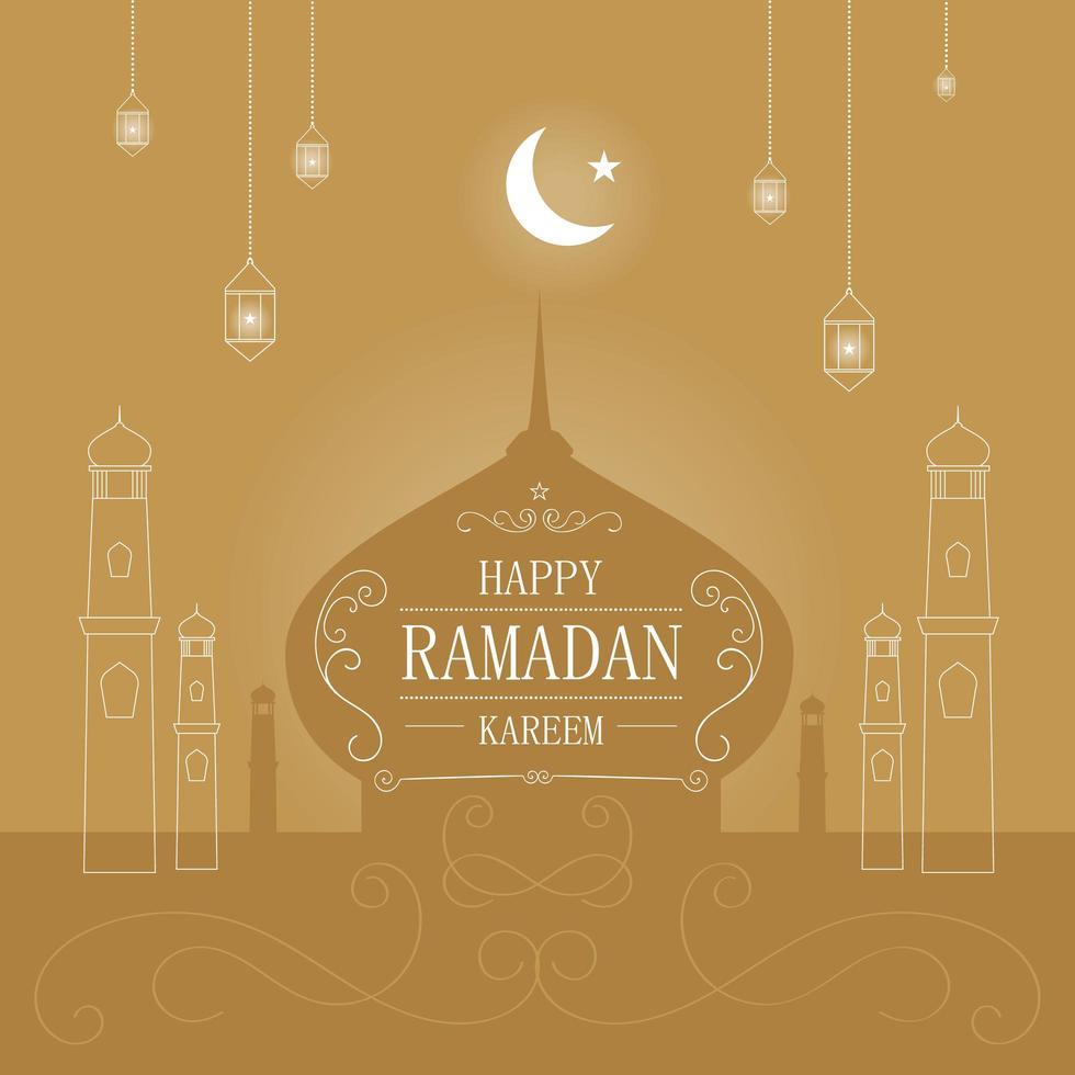cartão de ramadan kareem dourado com elementos brancos vetor