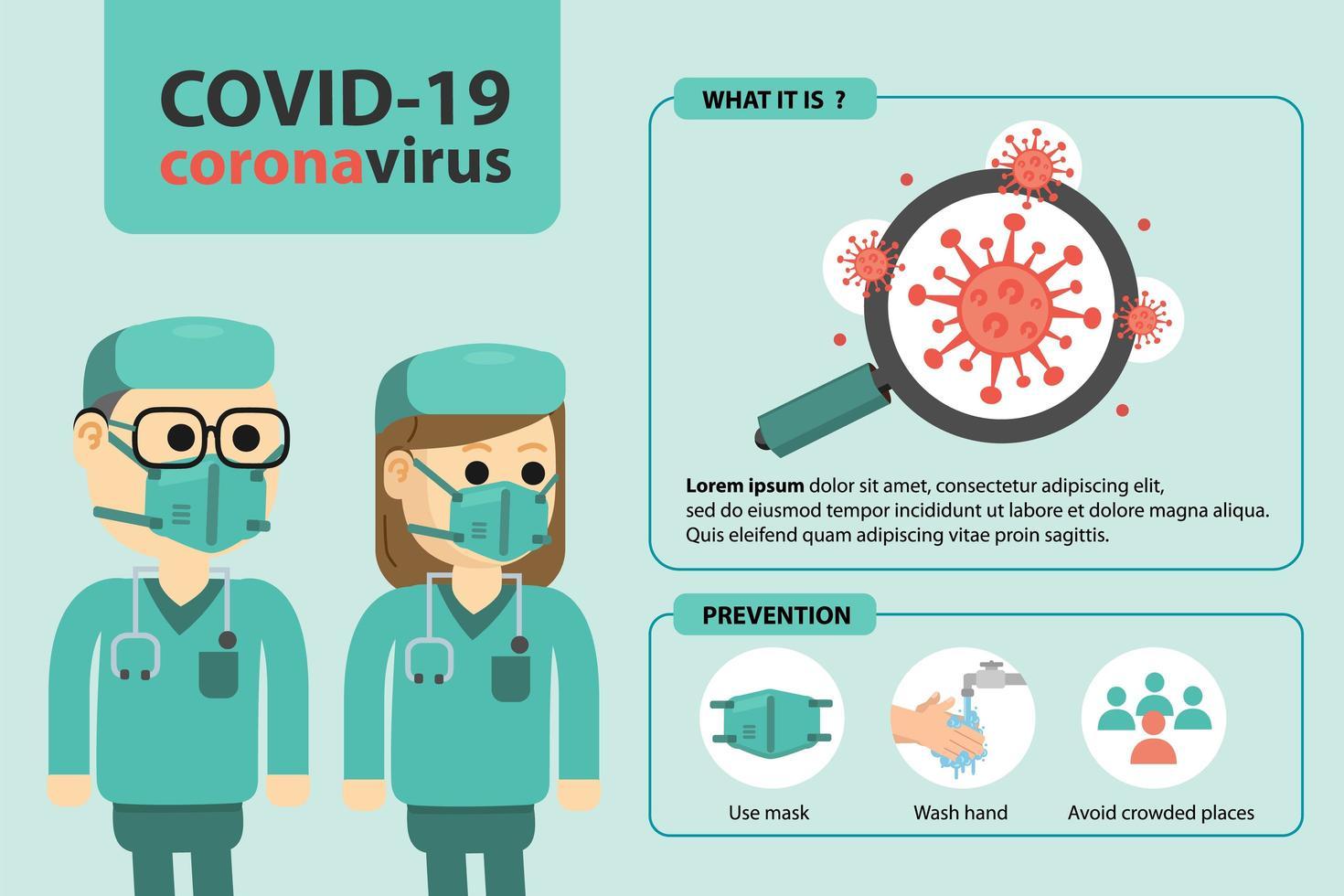cartel con médicos y consejos de prevención de coronavirus vector
