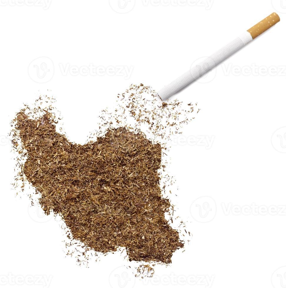 cigarrillo y tabaco con forma de Irán (serie) foto