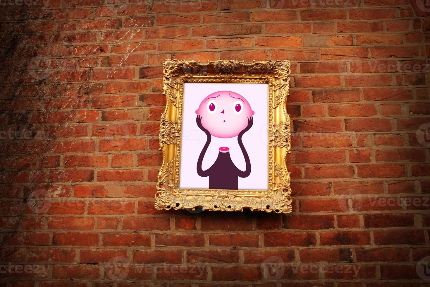 Head lifter in Golden frame on brick wall photo