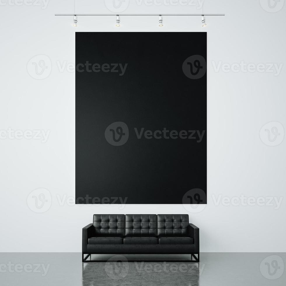 Photo of black empty canvas on the white wall background