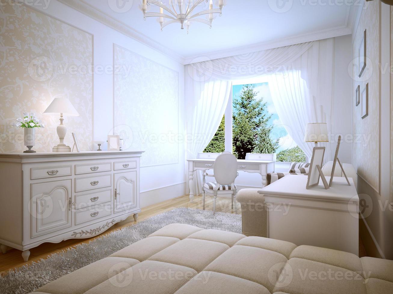 Bright interior of teen bedroom photo