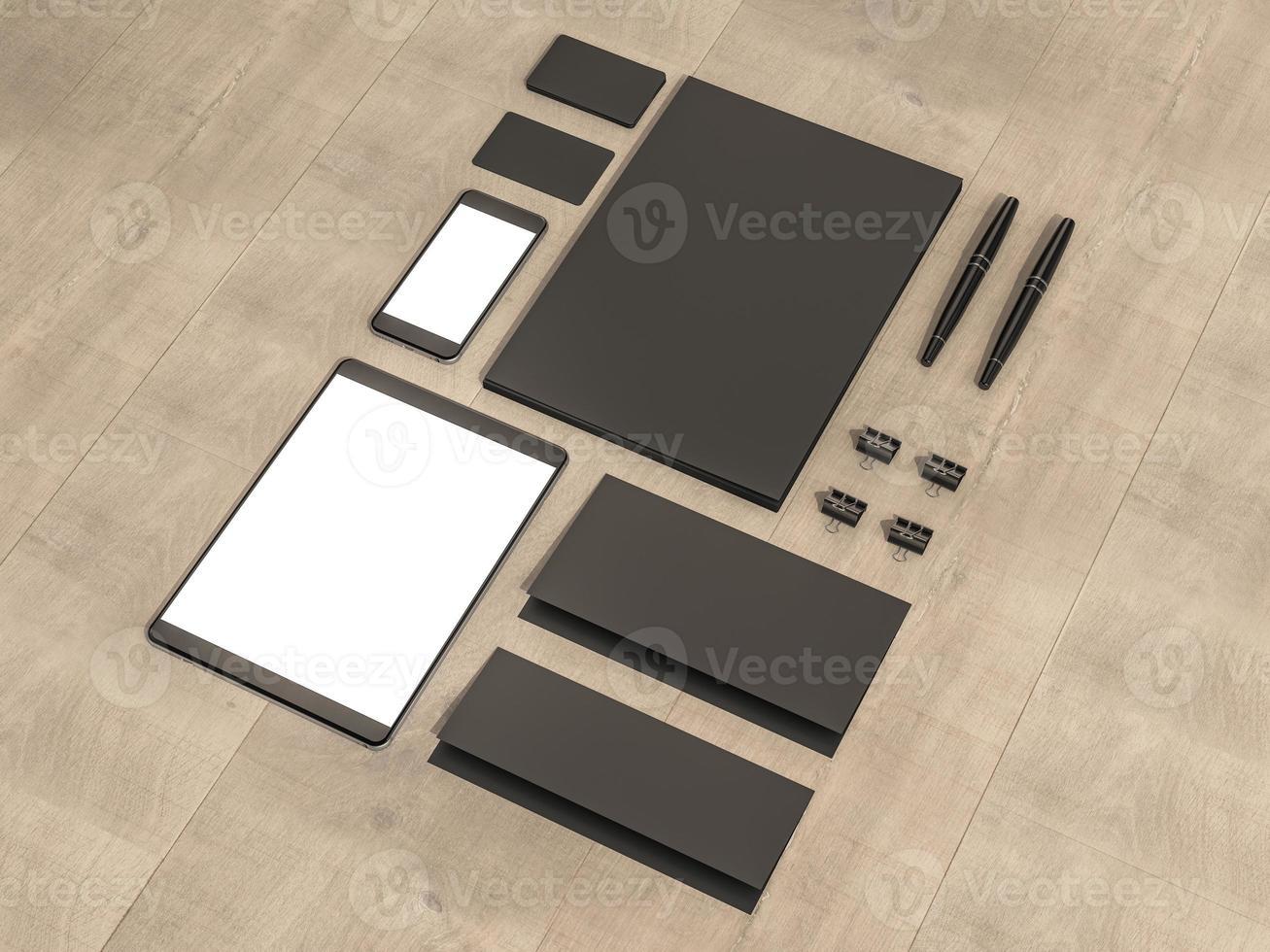 Set of mockup elements on the wood table. photo