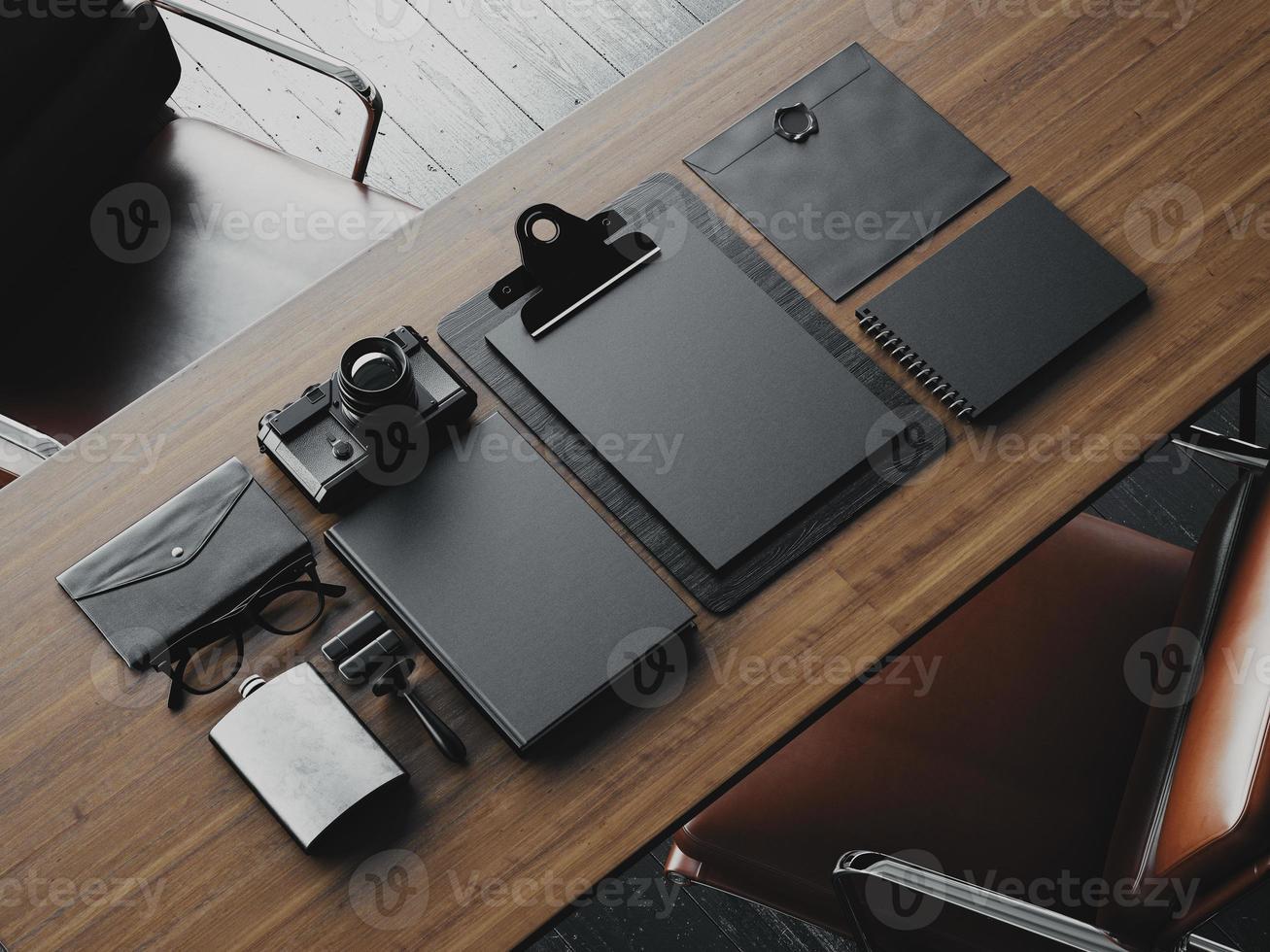 Set of business blank elements. 3d render photo