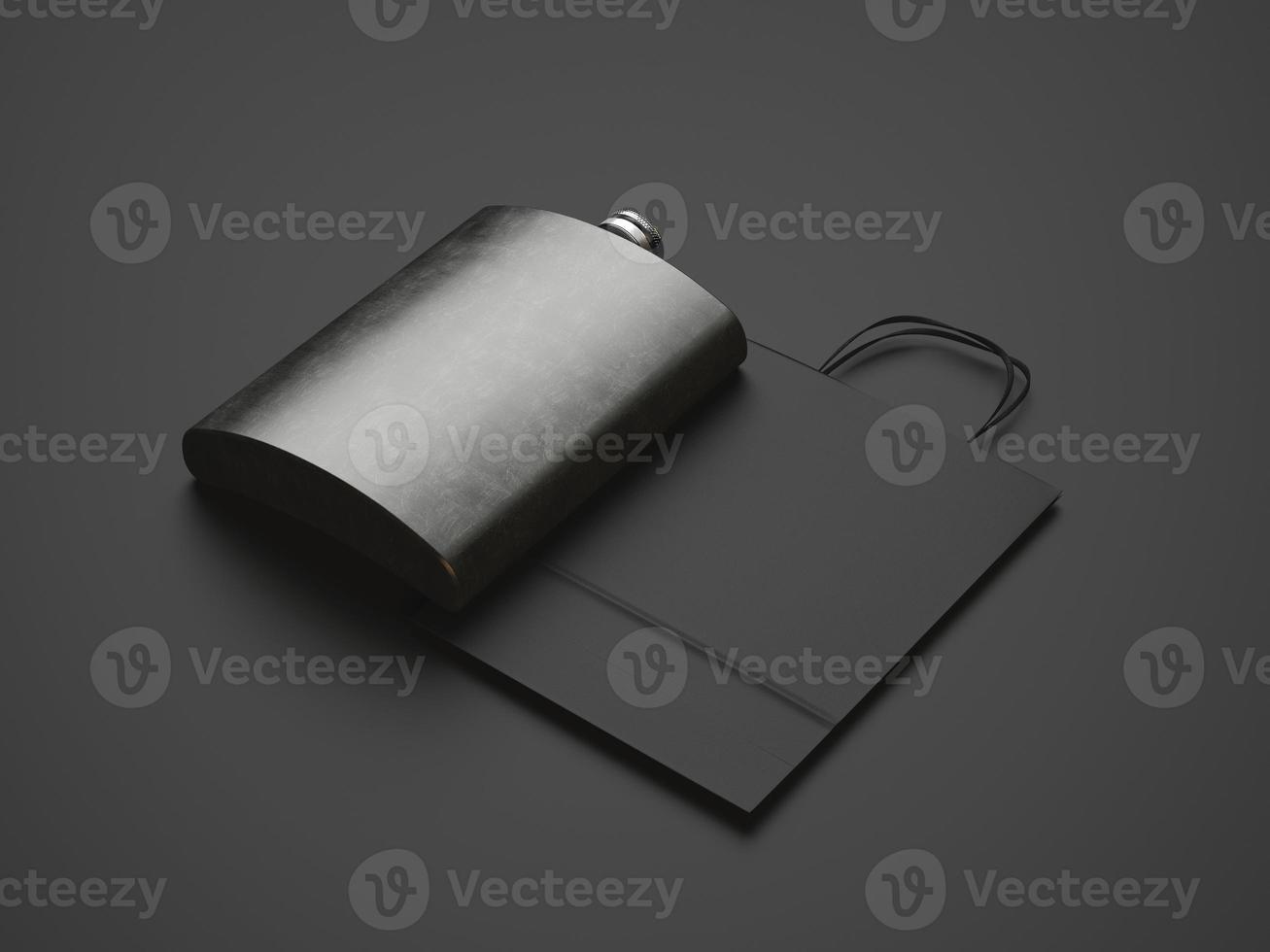 Flask made of dark metal and black bag photo