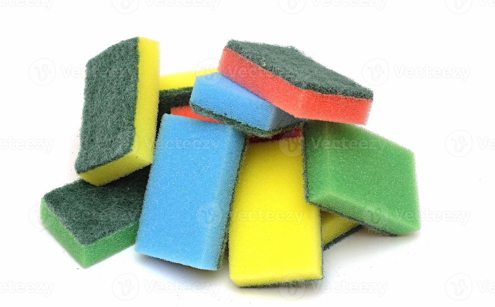 colorful sponge on the white background photo