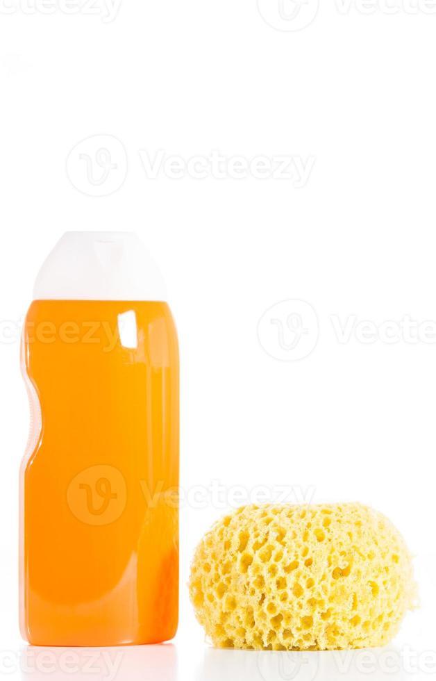 Shower gel and sponge photo