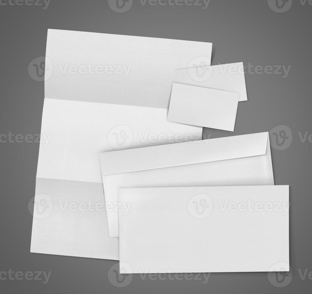 identificación corporativa de papelería conjunto en blanco foto