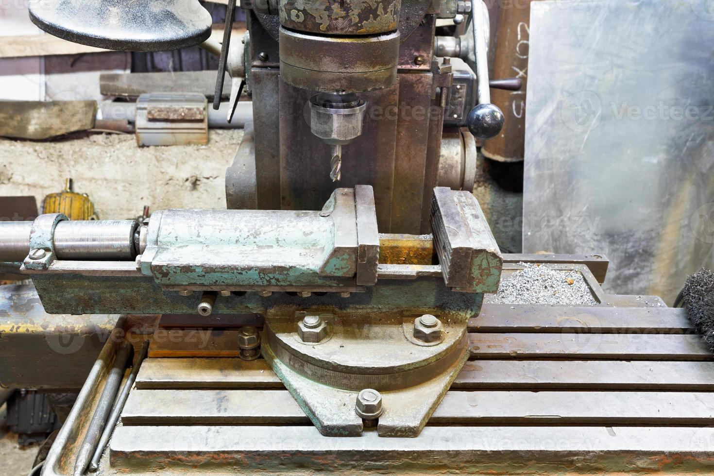 drill of old boring machine close up photo