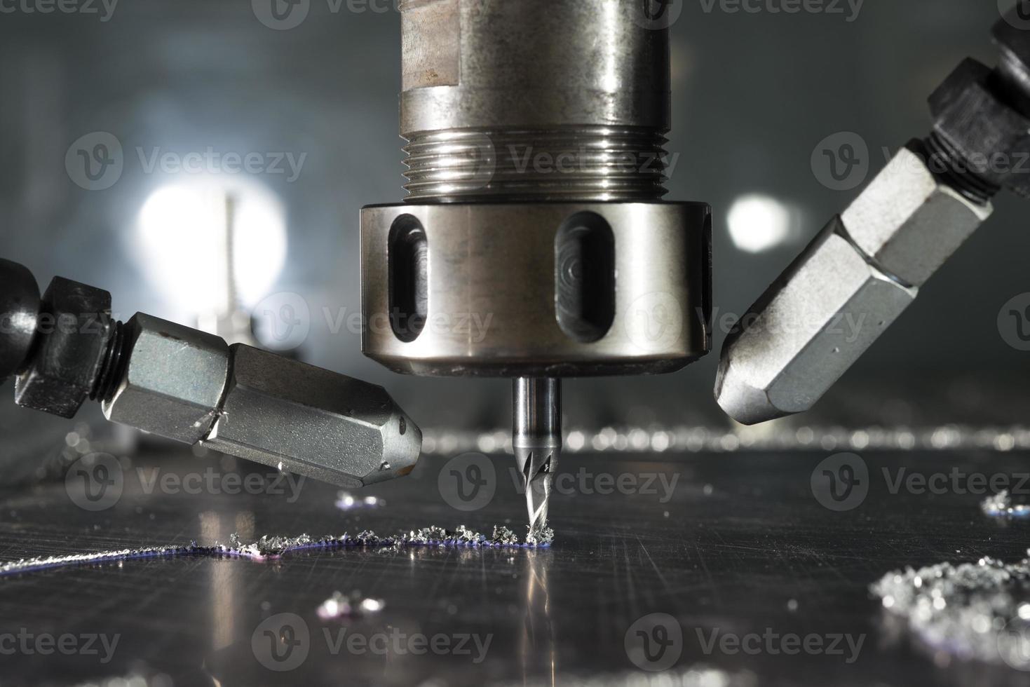 CNC metal machining by mill photo