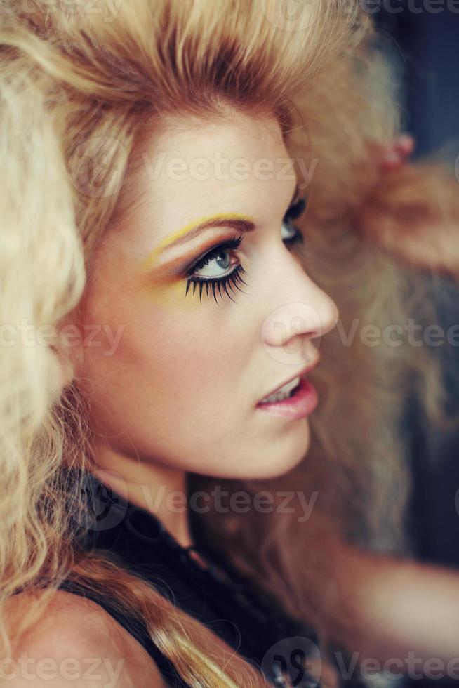 Big Hair Blonde Woman with Yellow Eyeshadow photo