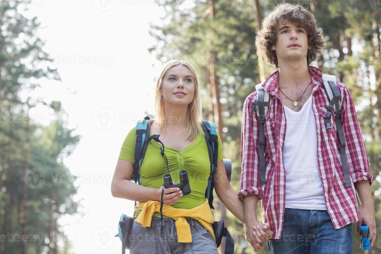 pareja joven mirando a otro lado mientras caminatas en el bosque foto