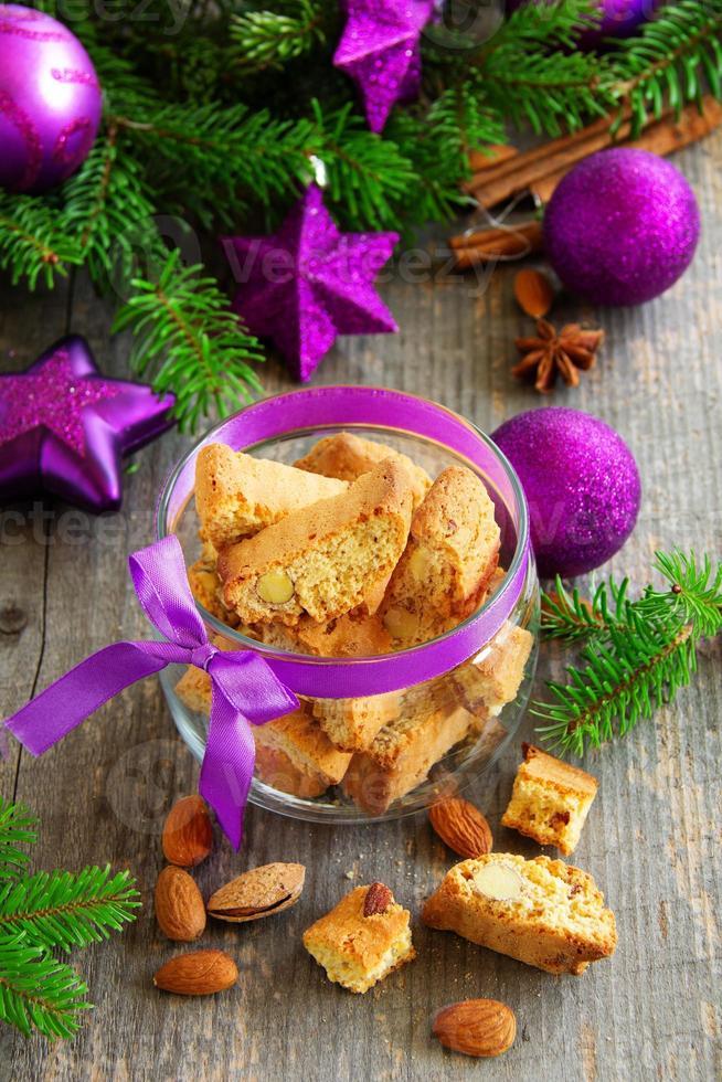 Italian biscotti cookies on New Year's table. photo