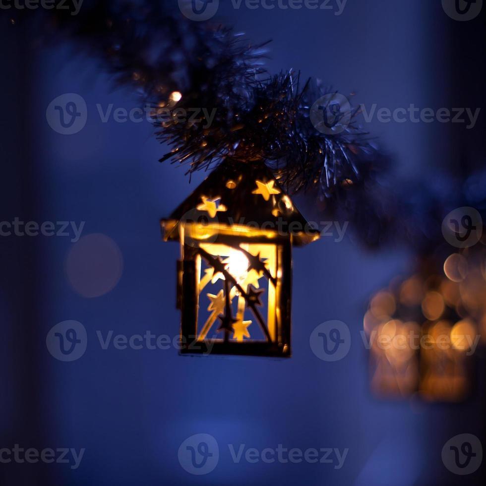 Christmas lights at night blule purple photo