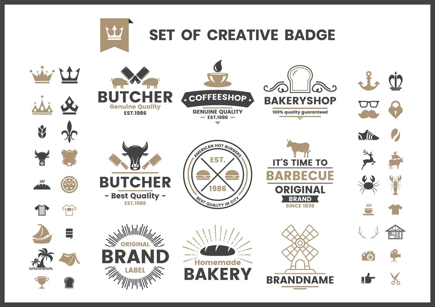 conjunto de logotipos vintage de café, panadería o carnicero marrón y negro vector