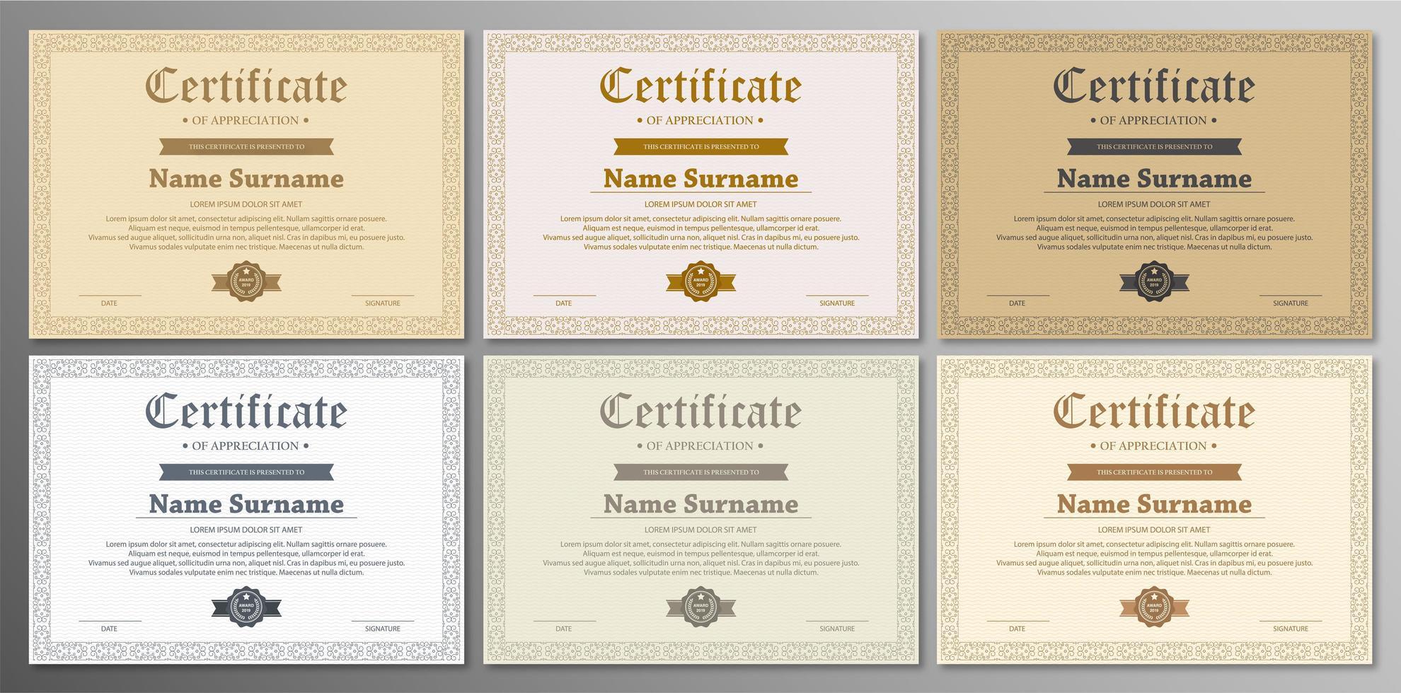Certificate Template Set vector