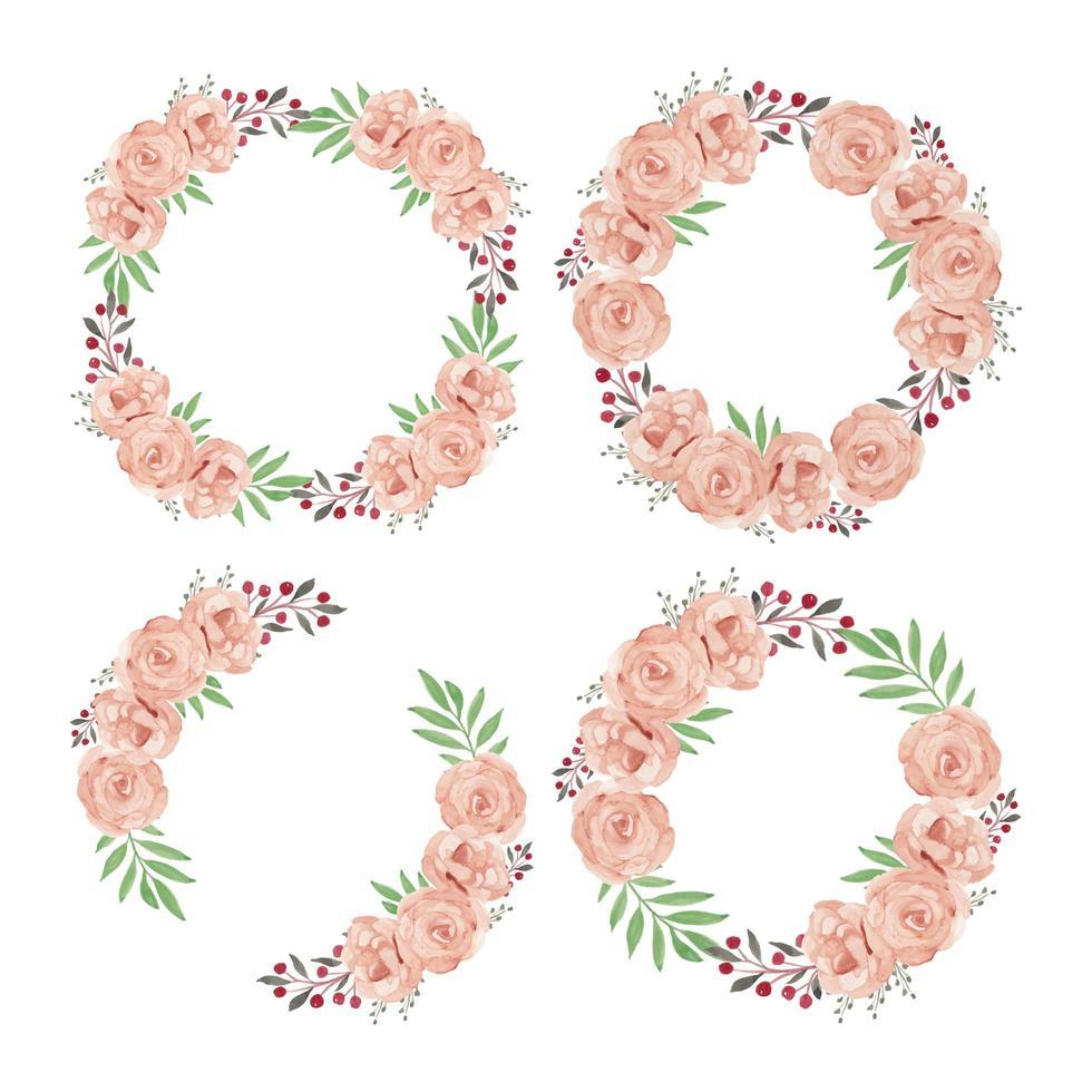 colección de marco de corona de flor rosa acuarela vector