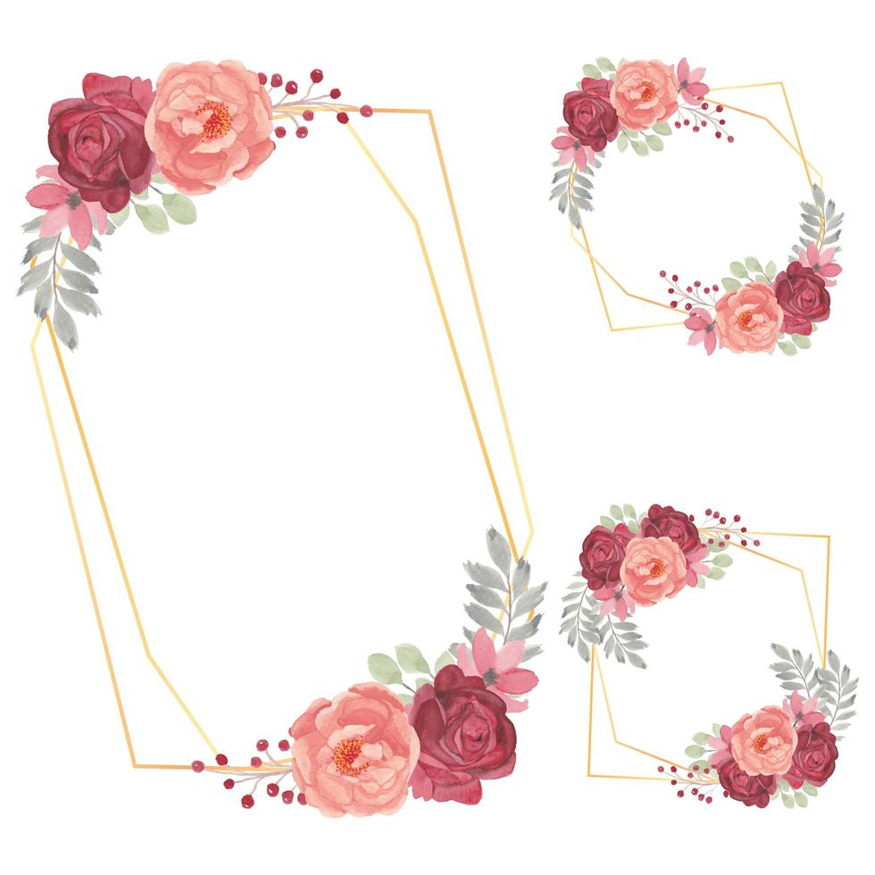 Watercolor Floral Frame Collection with Rose Flower vector