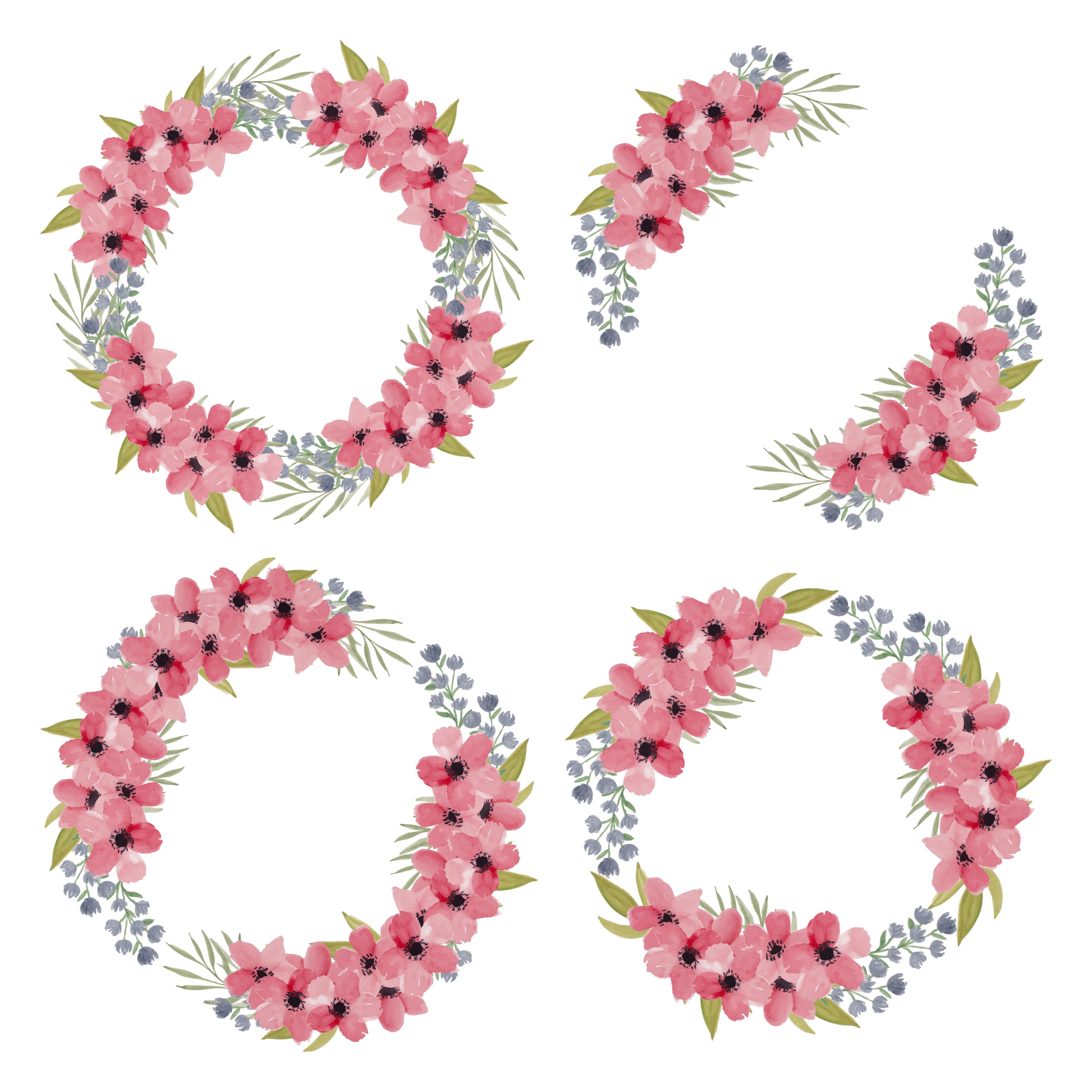 Watercolor Pink Petal Cherry Blossom Flower Wreath