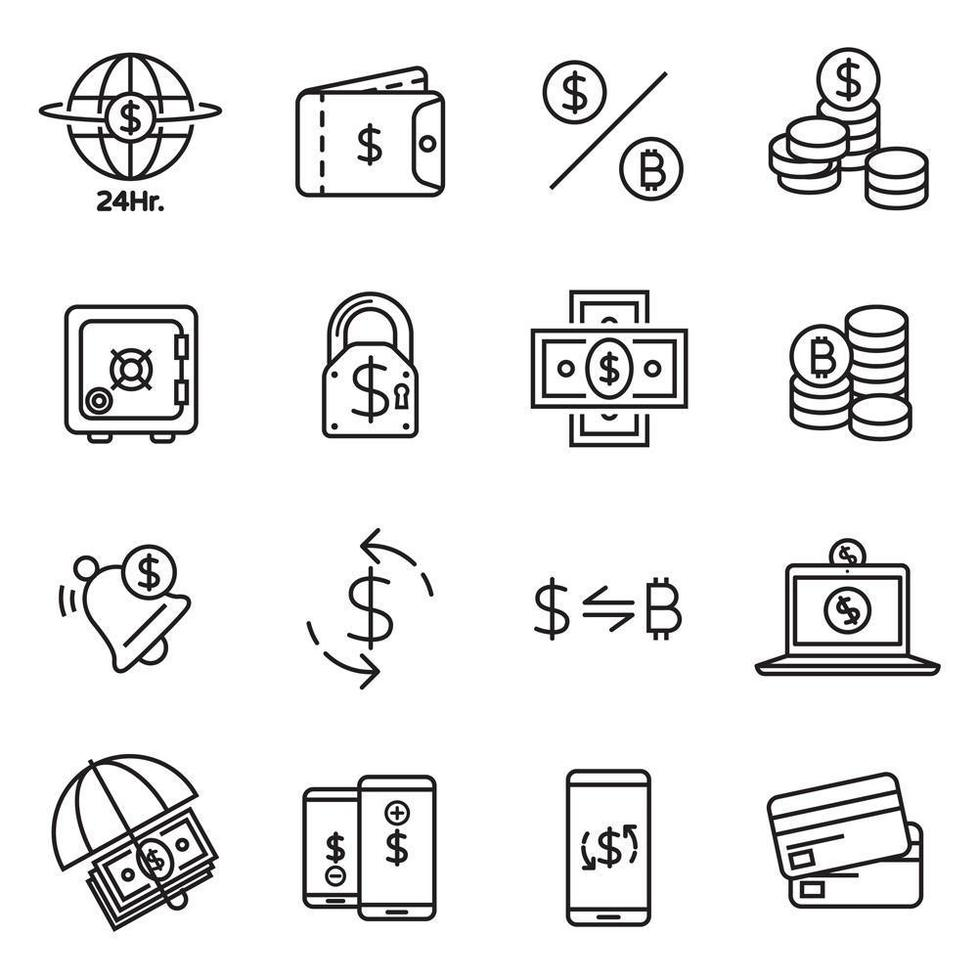 Investment and money line icon collection vector