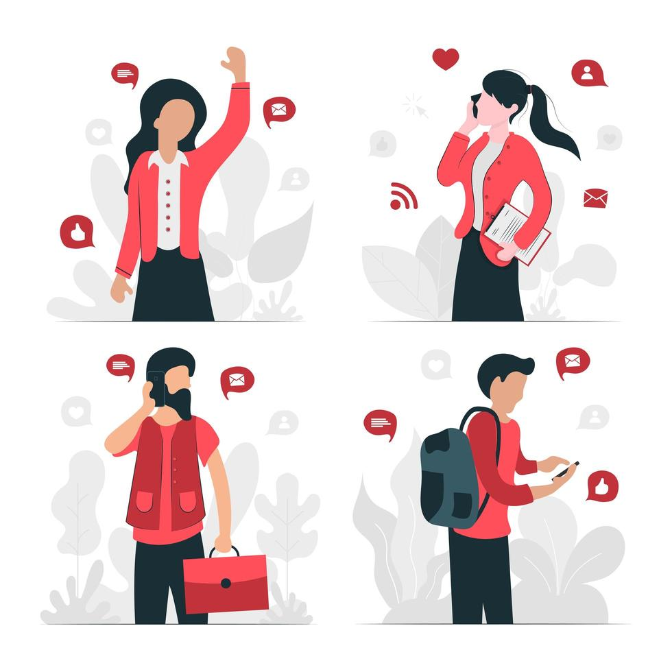 Young Professionals Communicating Set  vector
