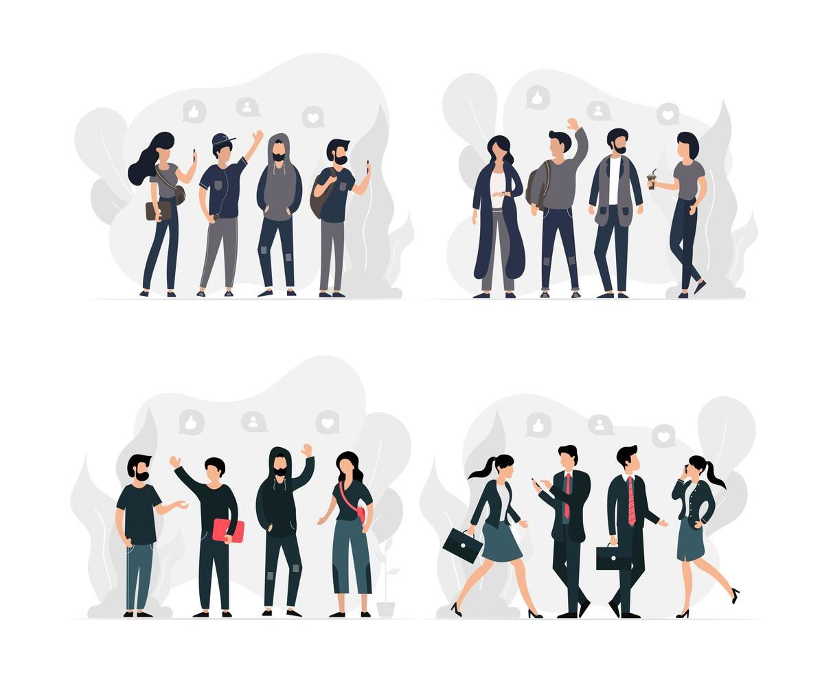 Set of Young Groups of Social and Professional Men and Women vector