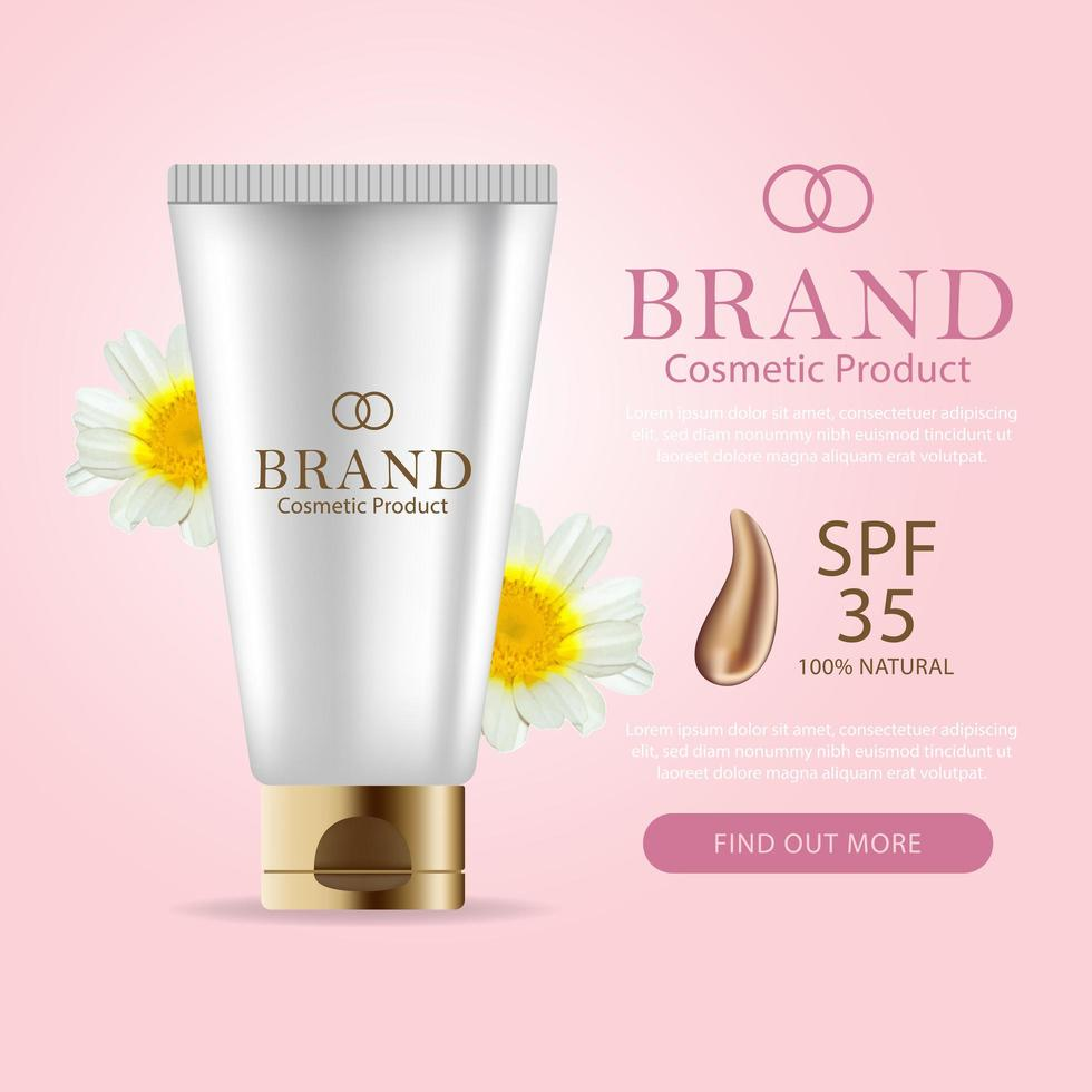 Skin Care Promo Banner with 3D Bottle  vector