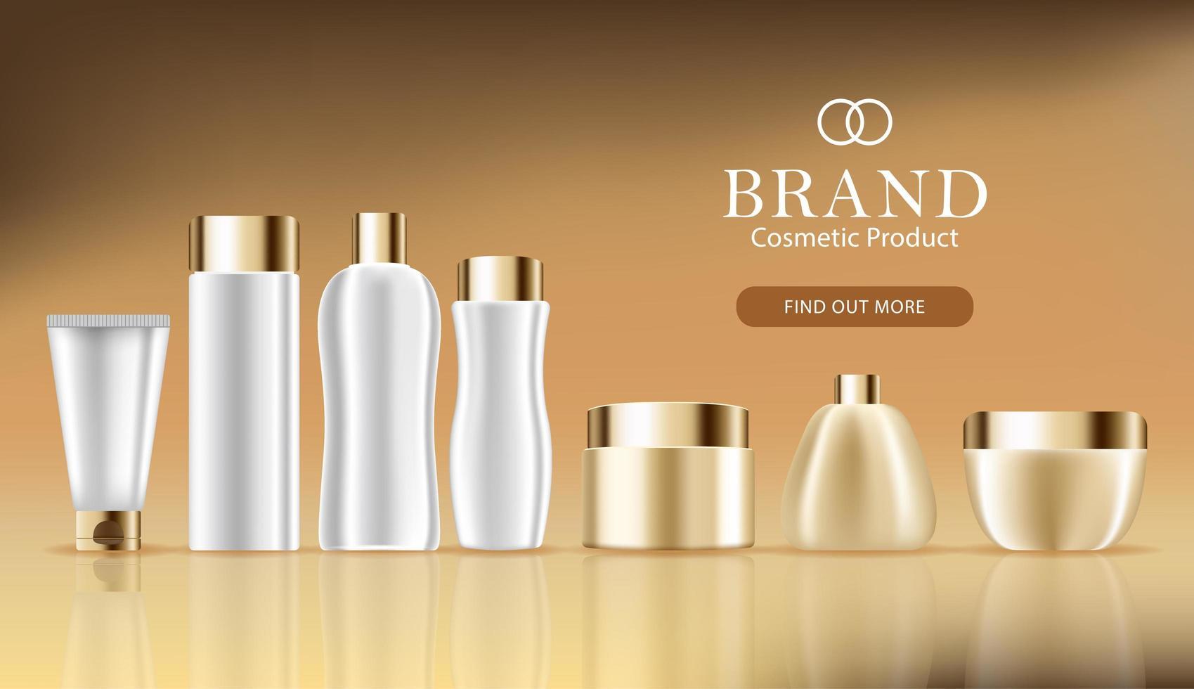 banner de publicidade cosmética com conjunto de garrafa 3d vetor