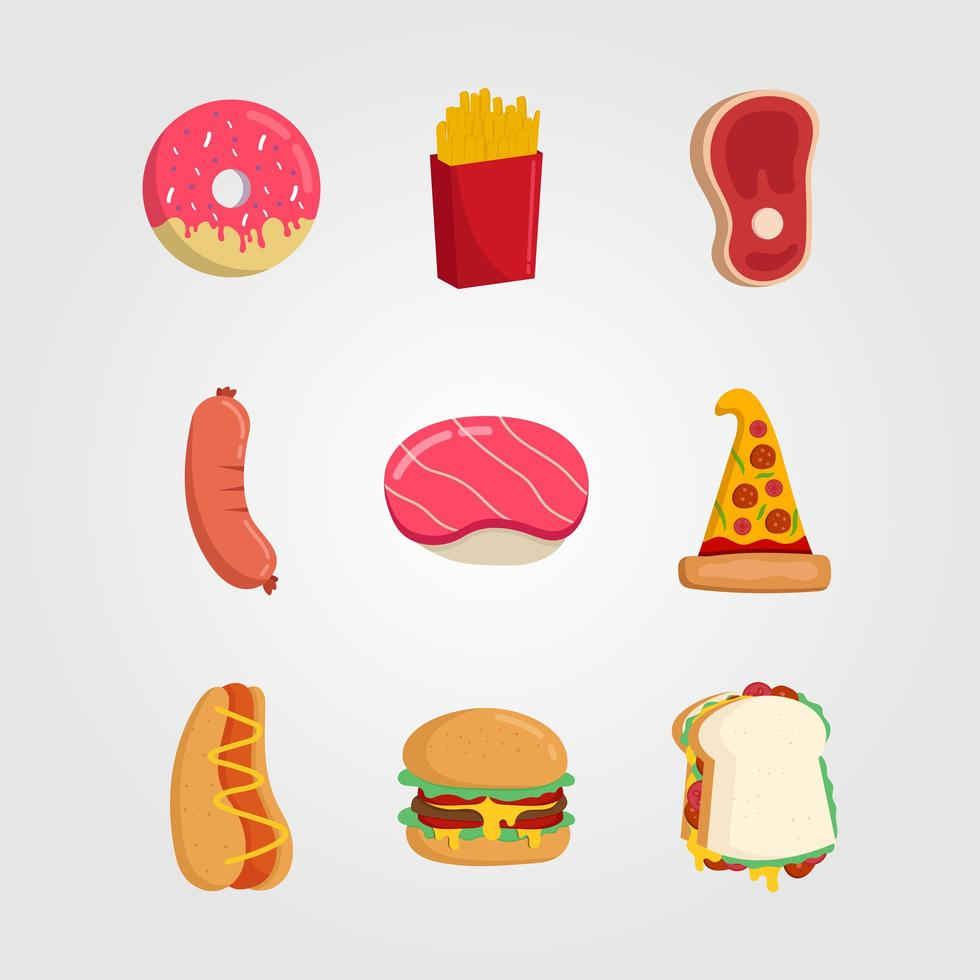 Set of Fast Food Icons Flat Style  vector