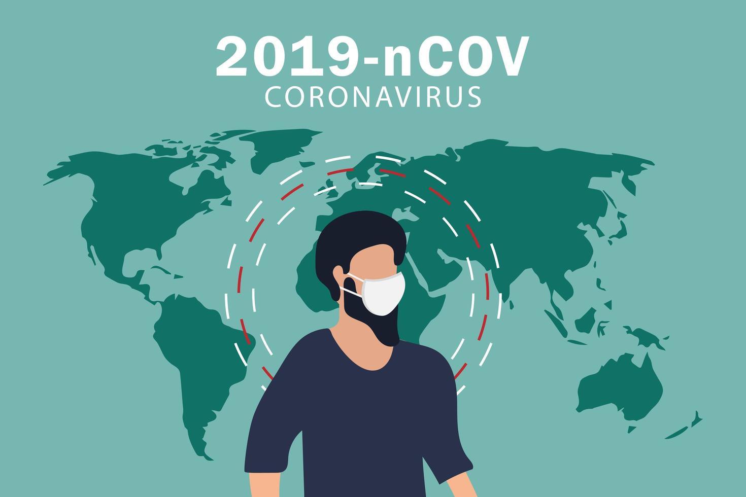 cartel de coronavirus covid-19 con hombre con mascarilla vector