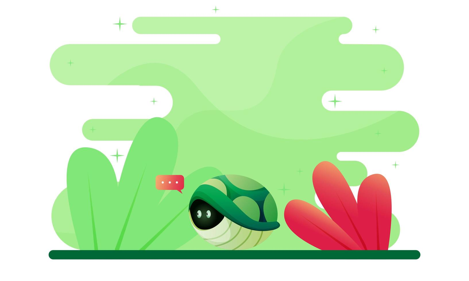 Stay Home Concept with Turtle Illustration vector