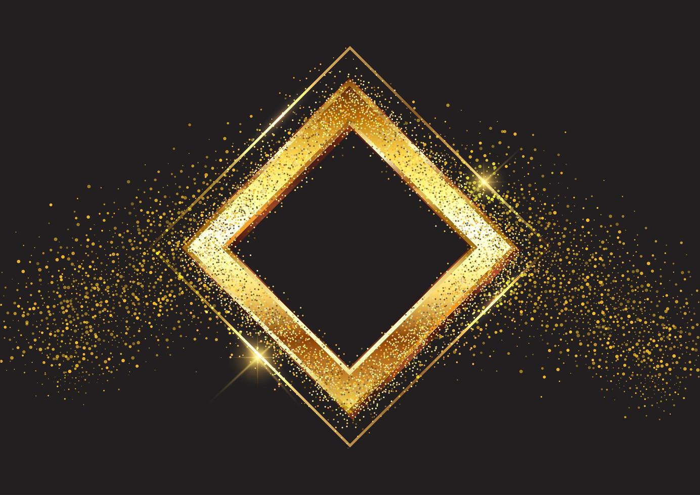 Decorative glittery gold frame vector