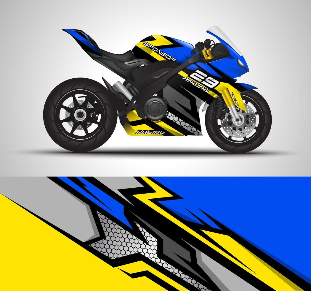Blue and yellow wrap decal vector