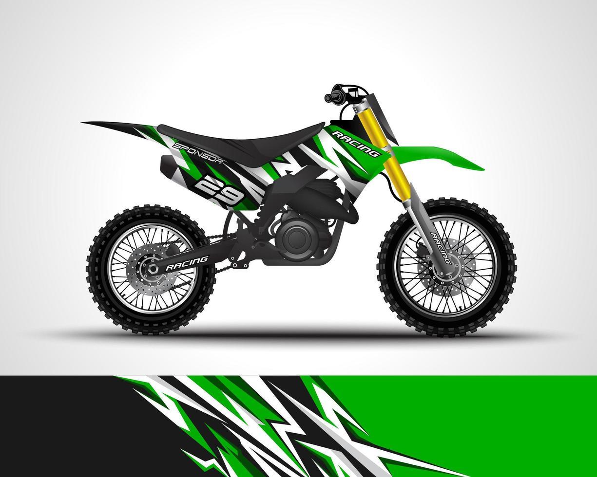 Green motocross vinyl sticker vector