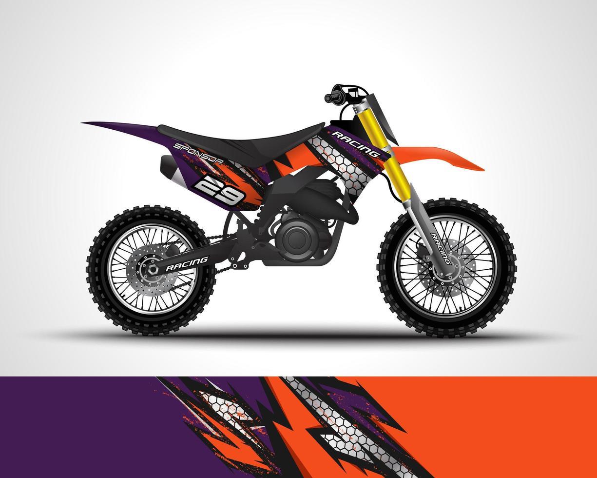 Orange Motocross wrap decal  vector