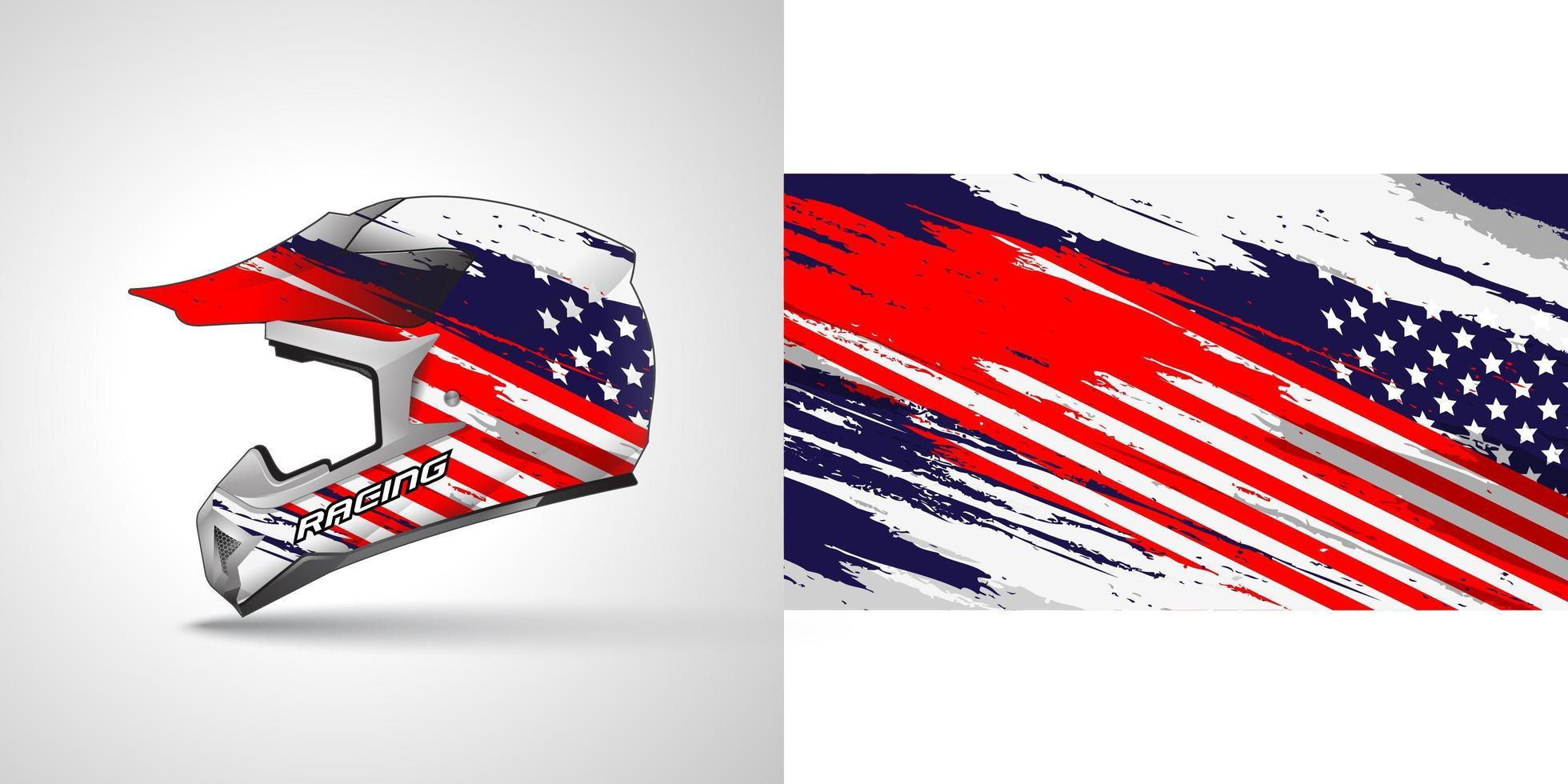 Racing helmet wrap decal vector