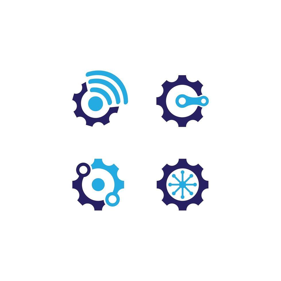 icona ingranaggio connessione blu vettore