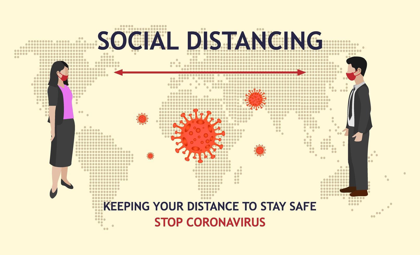 uomo e donna distanza sociale e mappa del mondo vettore