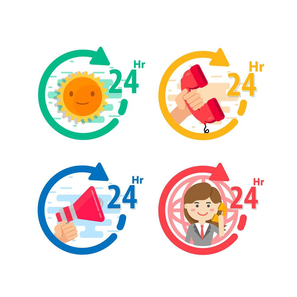 24 Hour Call Center and Services Icon Set vector