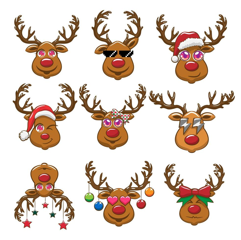 Kawaii Style Reindeer Set vector