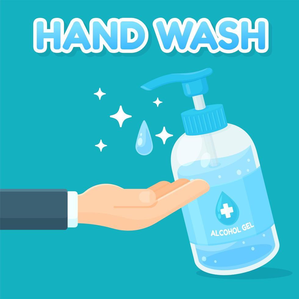 mão de desenho animado usando gel de álcool para higienizar vetor